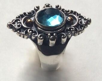 Gypsy ring, Silver gold ring, London topaz ring, twotone ring, boho ring, bohemian ring, Tibetan ring, filigree ring - The blue sky R2243