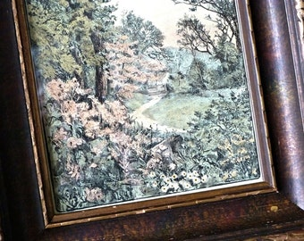PAIR Vintage Pastoral Landscape Engravings with Sheep Path Gate Cottage, Old Deep Frames Wavy Glass, Hand-Tinted Slocombe Art