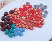 Vintage Jewelry Destash Lot.  Cabochons. Flatbacks. Pennsylvania Hex, Neon Orange Snowflake, Scarab Glass cabs, Blue, Red, Tiny CAB2