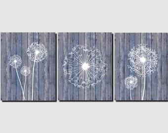 Dandelion Wall Art Canvas or Prints Beach Home Decor Blue White Aqua Bathroom, Living Room, Bedroom, Spa, Kitchen, Dandelions Set of 3