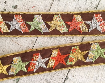 Vintage 60s Embroidered Ribbon, Brown Star Cotton Jacquard Ribbon Trim, 7 Ft, Craft Supplies, Sewing & Needlecraft Supplies, Trim Tapes