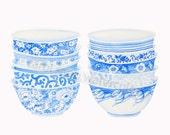 blue bowls print of original watercolor painting