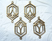 4 -Antiqued brass Art Deco 2 ring connector earring drop - Jl201