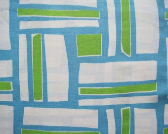 Vintage Sheet Fabric Fat Quarter –Geometric Mod Modern Blue Green White