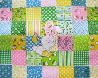 Vintage Cotton Faux Patchwork Cheater Quilt Fabric Bunnies Chicks Pink Blue Yellow Green – Half Yard 24""