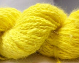 Bright Yellow Handspun Pure Angora Yarn