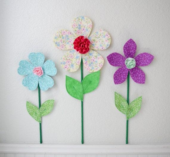Flower wall decal girls room nursery decor wall flowers 3d for 3d flowers for wall decoration