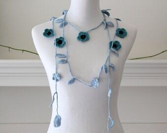Crochet Teal, Blue, Black Lariat  Necklace, Scarf, Scarflette
