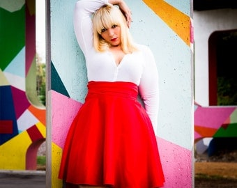 """High Waist  Skirt ( 2 - 14) 25"""" L  Red, royal blue, pink, green, navy"""
