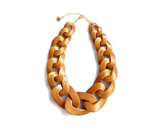 Gold Chunky Link Necklace, Statement Necklace, Polymer Clay Necklace in Gold