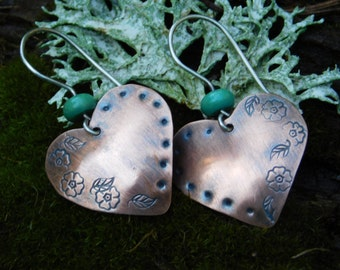SweetHeart Copper and Turquoise Earrings