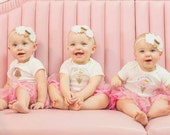 """Triplets """"I Scream, You Scream, We all Scream!"""" for ice cream, Fun Bodysuits for Triplets, or for Siblings set of 3 different sized t-shirts"""