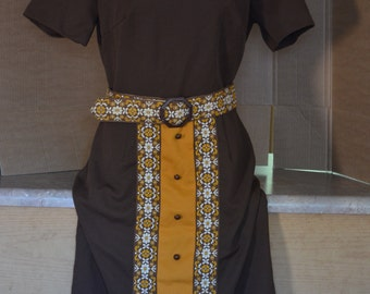 Toni Todd Dress with Belt/Fall Fashion Dress/Brown Dress/60's 70's Costume Dress