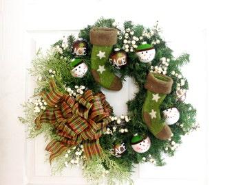 Rustic Snowman Wreath, Christmas Wreath, Winter Wreath, Brown and Green Wreath, Christmas Decoration, Holiday Decor, Front Door Wreath