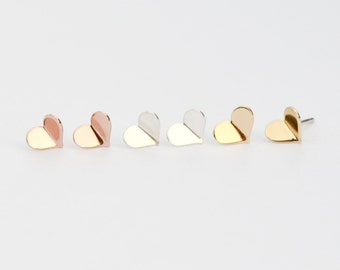 Tiny Heart Stud Earrings - Valentines Day Studs - Gold, Rose Gold or Sterling Silver Hearts - Love Earrings - Origami Jewelry -HookAndMatter