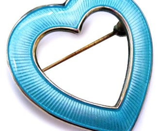 Mid Century Sterling Scandinavian Aksel Holmsen Norway Silver and Aqua Blue Guilloché Enamel Heart Brooch - Sterling Pin