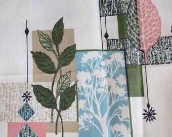 Vintage Mid Century Atomic Era Cotton Print DRAPERY Fabric 4 yards