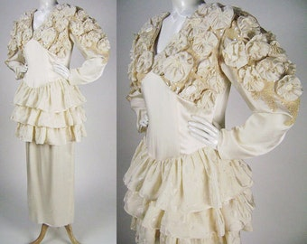 Vintage 80s Wedding Dress, Bridal Gown, Ivory Silk, Ruffles, Rosettes, Sequins, Long Sleeve,  Tiered Peplum, Maxi Dress, Florencefreda, B40""
