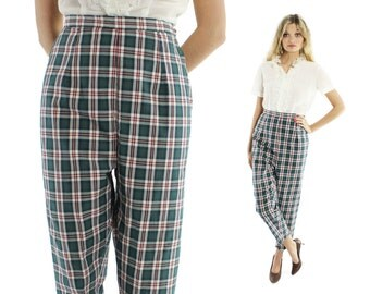 Vintage 50's High Waisted Pants Cropped Capri Trousers Green Plaid Cotton 1950s Medium M Cigarette Pants Rockabilly Pinup