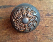 RESERVED - Vintage cast iron Victorian floral gothic door knob E2199