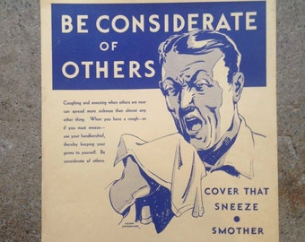 1930's Health Poster - Harold Cressingham - Original U.S. Depression era