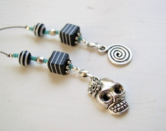 Sugar Skull Bookmark Jeweled Beaded Book Thong - Silver and Black and Turquoise with Pewter Charms for Reading Lover, Mexico Summer Reading