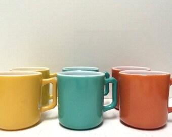 Hazel Atlas Mugs Kiddie Ware Set of 6 Milk Glass Fired on Colors Gold Aqua Rust 50s
