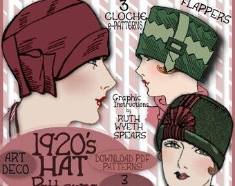SEW 3 Vintage 1920s FLAPPER CLOCHE Hat vintage e-Patterns (Lillie Set) pdf