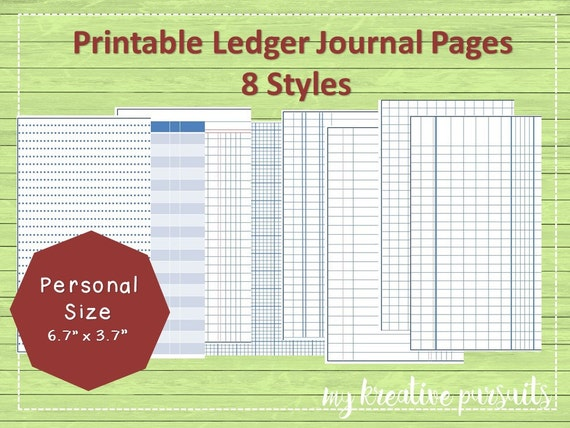 Printable Bullet Journal Papers, Ledger Papers, Midori Inserts  Printable Ledger Pages