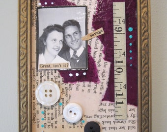 Mixed media assemblage, collage, framed 3D art, found object