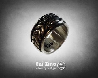 Ezi Zino Armor Motif Twisted Rope ring sterling silver 925 Jewelry Collection Certificate of Authenticity Guarantees