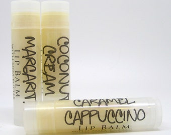 Coconut Cream, Caramel Cappuccino & Margarita Lip Balm with Shea Butter, Vegan, 100% Natural