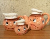Vintage Py Japan Anthropomorphic Set Teapot Milk Pitcher Shaker