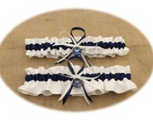 White and Navy Blue Satin Air Force Wedding Garter Set (Your Choice--Single or Set)