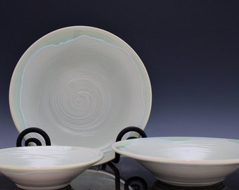 Nesting Serving Bowls in Porcelain with Frosted Aqua Celadon Handmade by Diann Adams