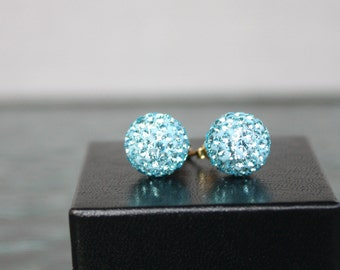 """Vintage Light Teal Rhinestone """"Disco ball"""" Stud Earrings with Sterling Post , Small Gift, Special Occasion"""