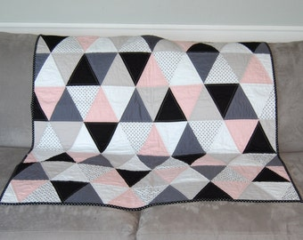 Pink, White, Gray, Black, Polka Dots Triangle Baby / Toddler Quilt