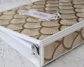 Wedding Planner Book, Wedding Binder Organizer, Wedding Keepsake, Gold Fans on Ivory, 3 Ring Binder Style, Size 7x9