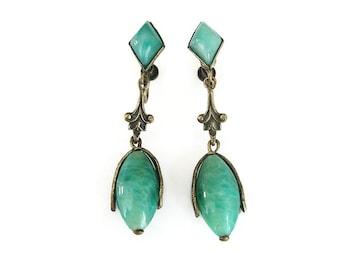 Art Deco Earrings, Peking Glass, Green Marbled Glass, Dangle Drop, Gold Tone, Filigree Metal, Art Deco Jewelry, Vintage Earrings