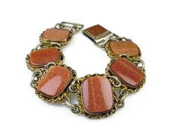 Sterling Vermeil Goldstone Bracelet - Sunstone Aventurine, Gold Plated Bracelet, Vintage Bracelet, Jerome Fleischer and Company