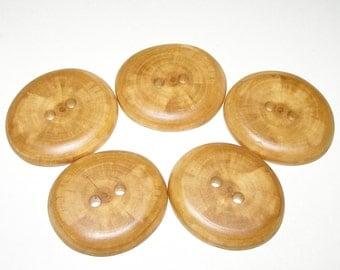 """5 Handmade plum wood buttons , accessories (1,77"""" diameter x 0,28"""" thick)"""
