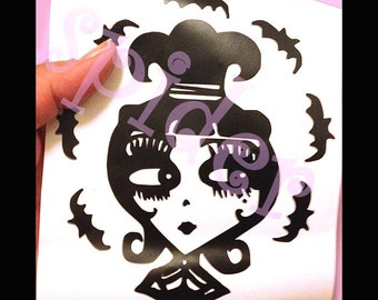 Lydia Deetz Inspired Vinyl Decal Sticker Stickers Spooky Cutie Creepy Cute  Bats Car Decal Beetlejuice