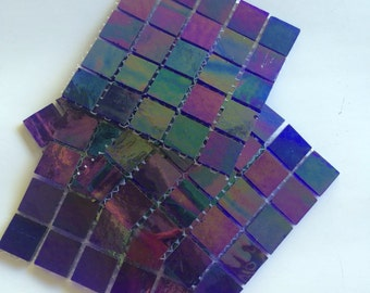 """YZR3910130 3/4"""" Irridescent Ink Stained Glass Mosaic Tiles-25 pc//Mosaic Tiles// Discount Mosaic Supplies"""