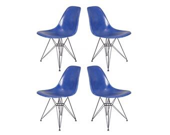 Vintage Blue Eames Fiberglass Chairs on Eiffel Base