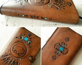 Leather Journal - Night Moon Buffalo Feathers & Cacti Dreamcatcher - Hand Tooled Leather Diary - Southwestern - Mesa Dreams - Ready to Ship