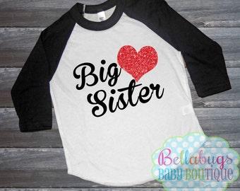 Big Sister Raglan Tshirt - Glitter Heart - Size 2 to 12 - Baseball Shirt