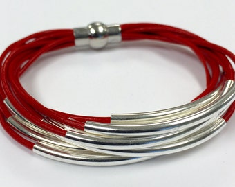 Red Leather Cuff Bracelet with Silver or Gold Tube Beads - Multi Strand Bangle Women's Bracelet w/Magnetic Clasp