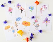 Set of 9 Tiny Ladies & Huge Flowers Postcards