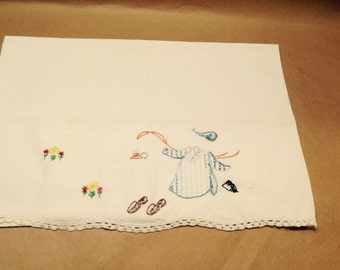 """One Vintage Pillowcase Good Night Embroidered 20 x 28"""" Crocheted Night Shirt, Flowers, Lamp, Slippers Standard"""