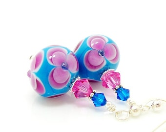 Blue and Pink Floral Earrings, Lampwork Earrings, Glass Bead Earrings, Glass Art Earrings, Floral Earrings, Unique Earrings, Flower Earrings